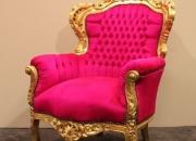 Fauteuil estilo barroco, oro con fucsia