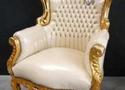 Fauteuil estilo barroco en crema skai oferta