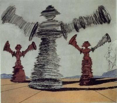 Los gigantes molinos. grabado de dali