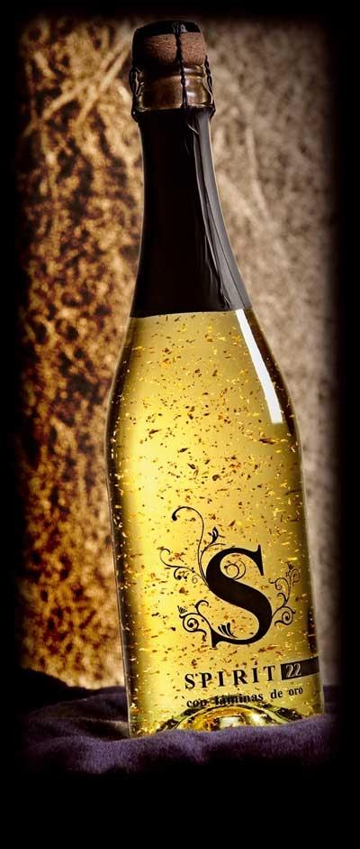 Champan con oro - spirit 22 - cava con oro - espumoso con oro comestible