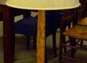 lampara de piel roble y paflon de tela