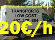20?/h MUDANZAS Y TRANSPORTES LOW COST, para particulares y empresas