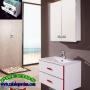 Muebles de Baño. Conjunto BRISTOL 60 Blanco/Rojo