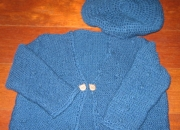 Chaqueta artesanal azul con bodoques