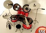 Bateria musical replica miniatura roja completa
