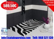 Ofertas-en-banos.Plato de Ducha Modelo CEBRA 130x70cm Blanco/Negro