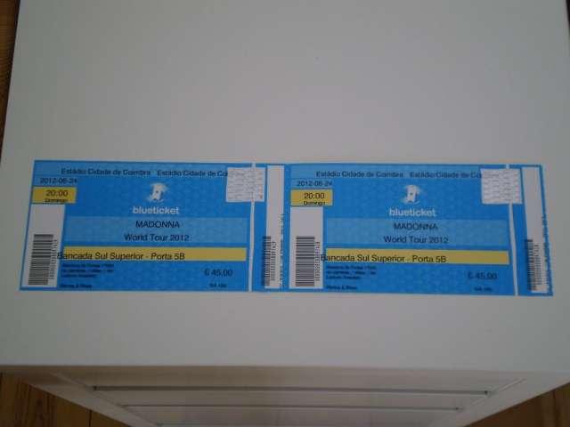 2 entradas para ver a madonna en coimbra 2012