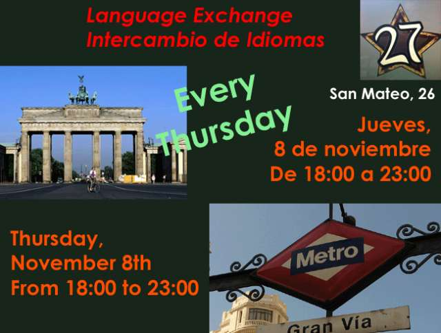 Intercambio de idiomas / language exchange (jueves)