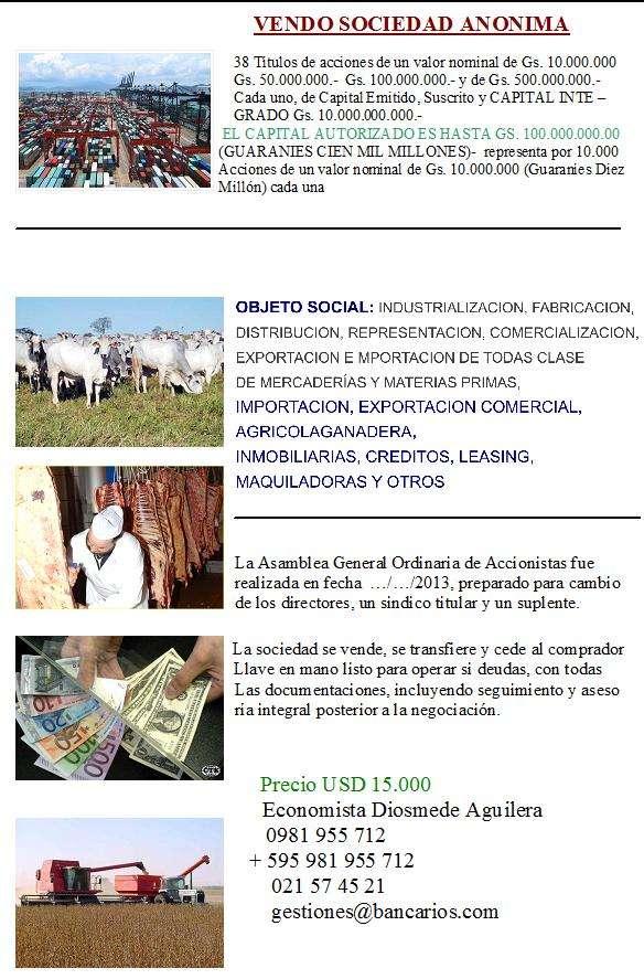 Vendo sociedad anónima lista para operar en paraguay