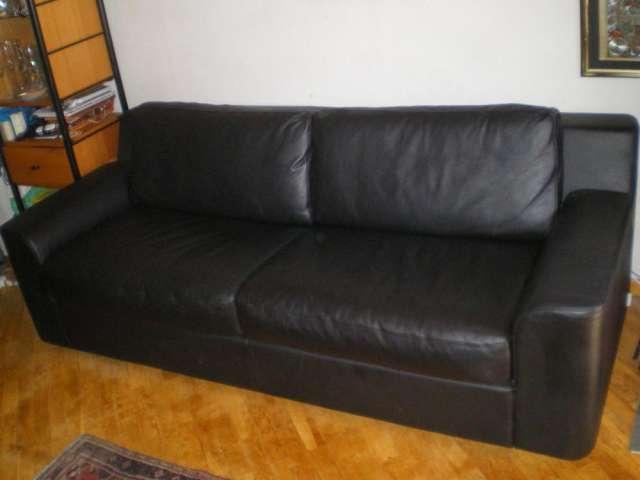 Sofa-cama italiano tapizado en cuero negro en Madrid - Muebles   462906.