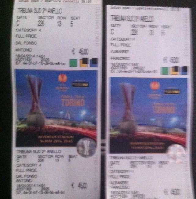 2 entradas para la final uefa europa league de turin entre sevilla y benfica