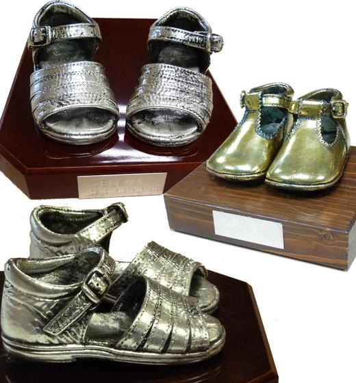 Zapatitos de bebe bañados en oro plata bronce, etc.
