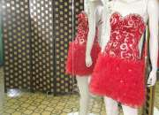 Vestido de fiesta corto lentejuelas rojas y dorad…