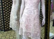 Vestido de fiesta corto en tul bordado en beig