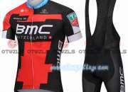 2018 maillot bmc manica corta rojo y negro