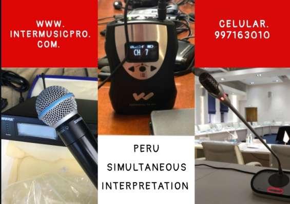 Perú traducción micrófonos debate equipos interpretes audio eventos cel. 997163010