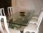 Gran mesa de cristal, soportes de bronce