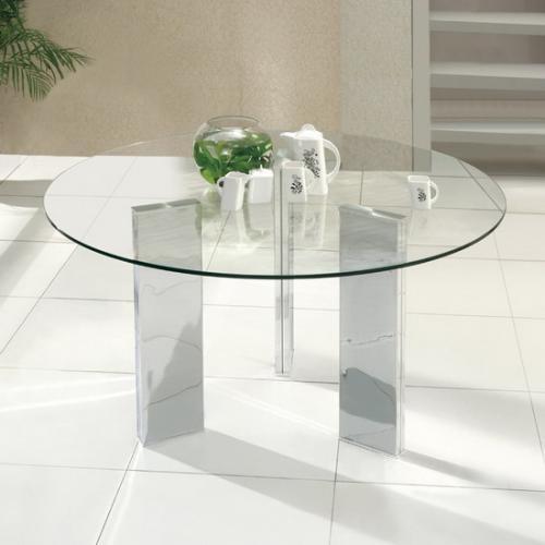 Mesa de comedor redonda en vidrio y cromo en Madrid - Muebles | 244164
