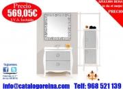 Mueble de bano BOLONIA 85 Blanco/Hebras Plata