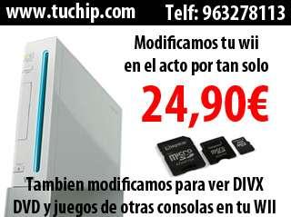 Www.tuchip.com modificamos tu wii por tan solo 24.90 euros, tu wii estara lista en solo 15 minutos, entra en nuestra web www.tuchip.com para ver todas las ventajas y caracteristicas de nuestras modifi