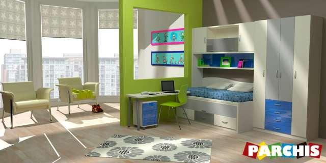 Muebles parchis, mueble juvenil, camas literas y escritorios abatibles, camas-nido