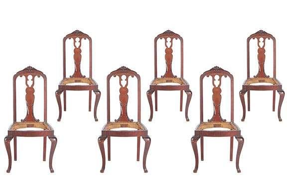 Seis sillas comedor. años 30. para tapizar.