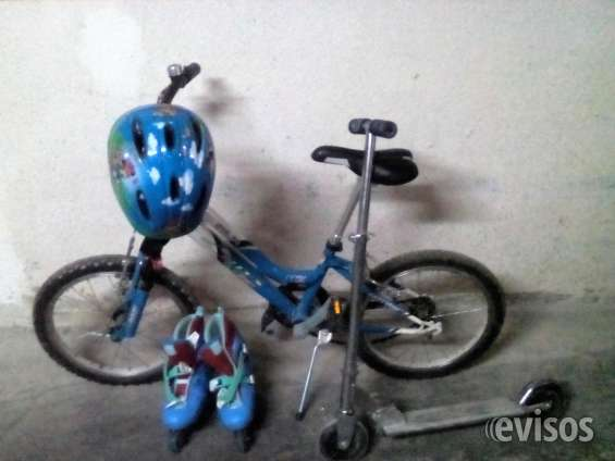 Bicicleta junior, patines seminuevos y patinete