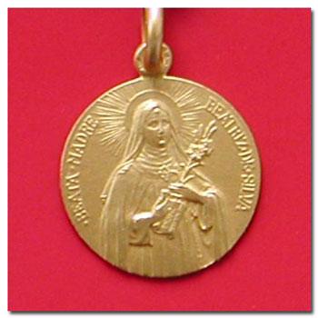 Medalla santa beatriz en oro y en plata.