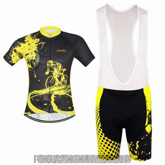 2017 maillot aogda tirantes mangas cortas negro y amarillo