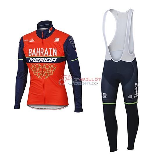 2017 maillot bahrain merida mangas largas rojo