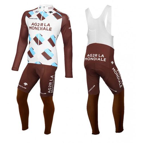 2015 maillot ag2r termico pantalones con peto blanco y marrone
