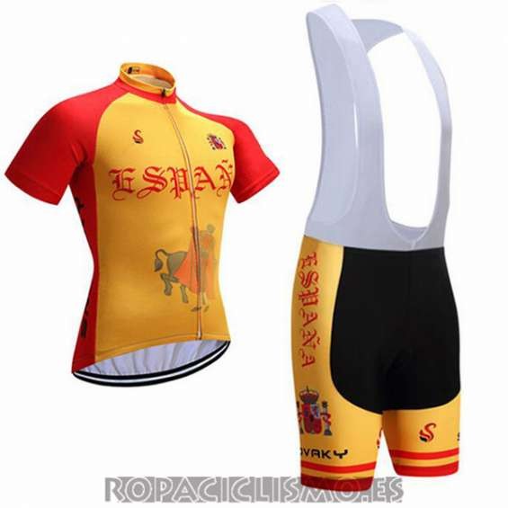 2017 maillot espana tirantes mangas cortas amarillo y rojo