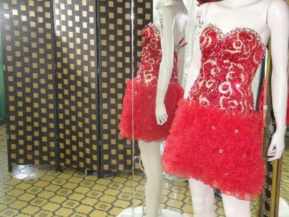 Vestido de fiesta corto lentejuelas rojas y doradas falda tul talla 36