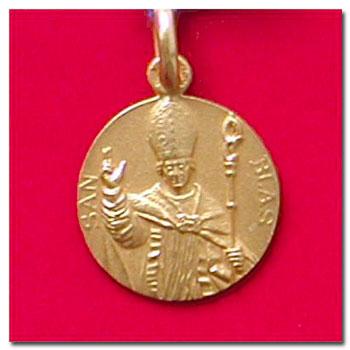Medalla san blas en oro oen plata