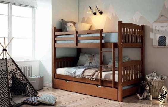 Litera maciza de 3 camas en c.nogal nueva de fabrica