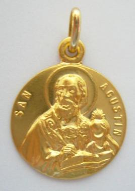 Medallas san agustin en oro y en plata,distintos modelos