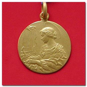 Medalla santa cecilia en oro y en plata,distintos modelos