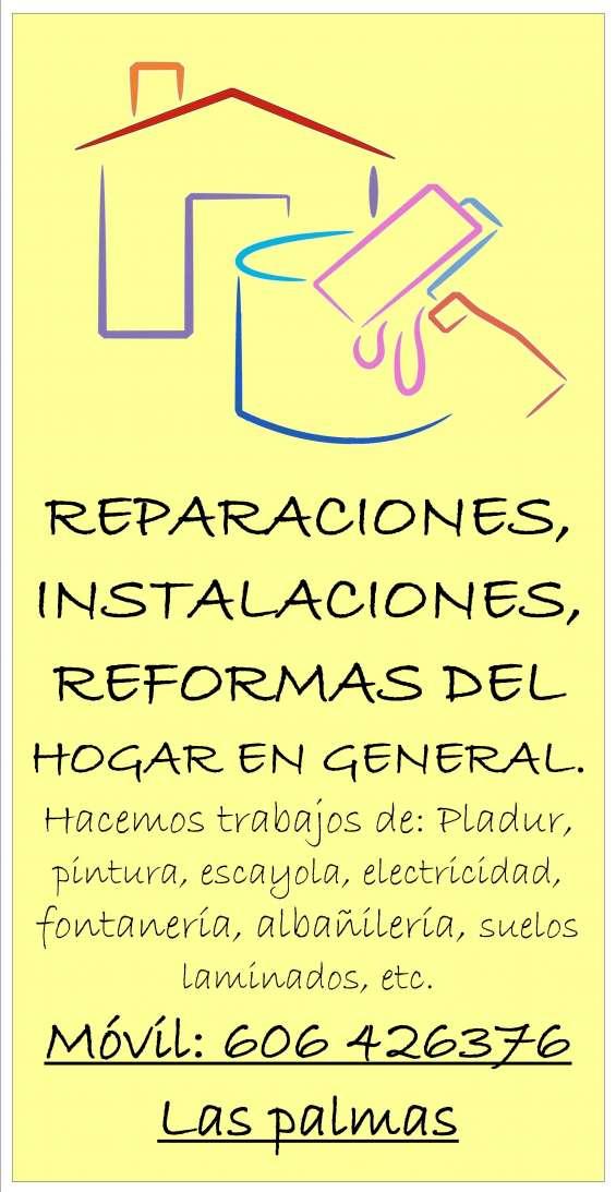 Reparaciones, instalaciones, reformas del hogar en general.